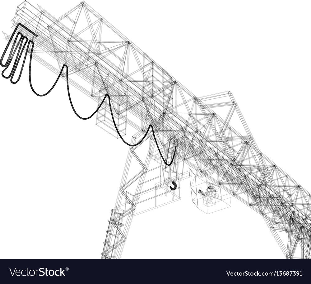 Gantry crane wire-frame rendering of 3d Royalty Free Vector