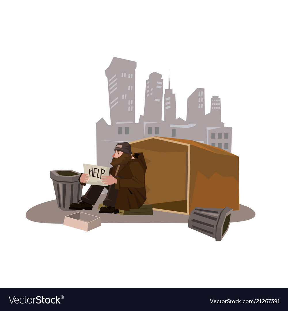 Homeless man with paper sign cartoon style
