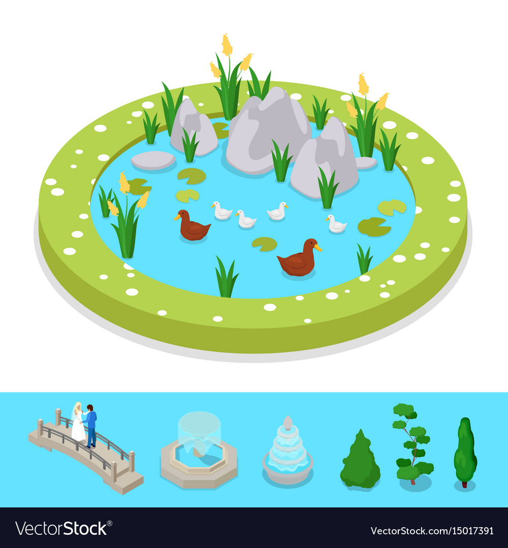 Isometric city park composition with water pond