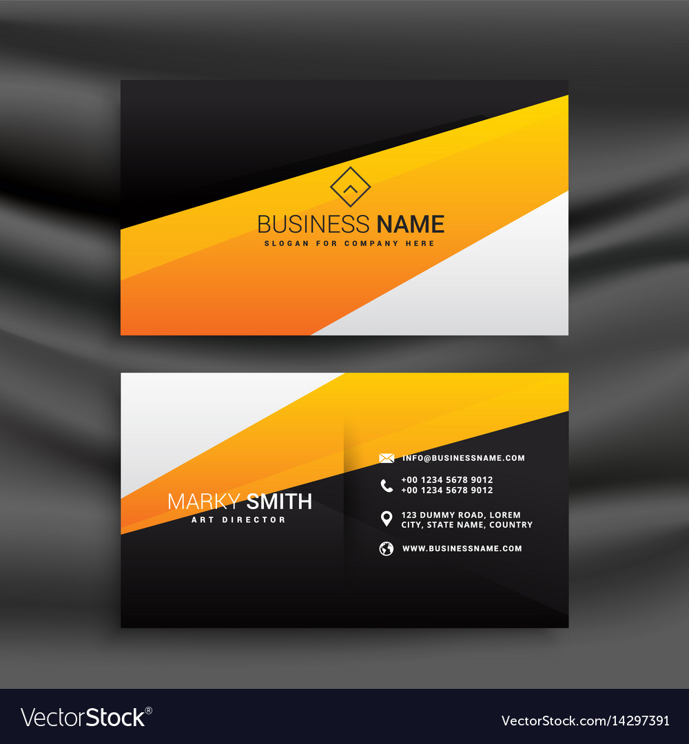 Modern yellow and black business card with clean