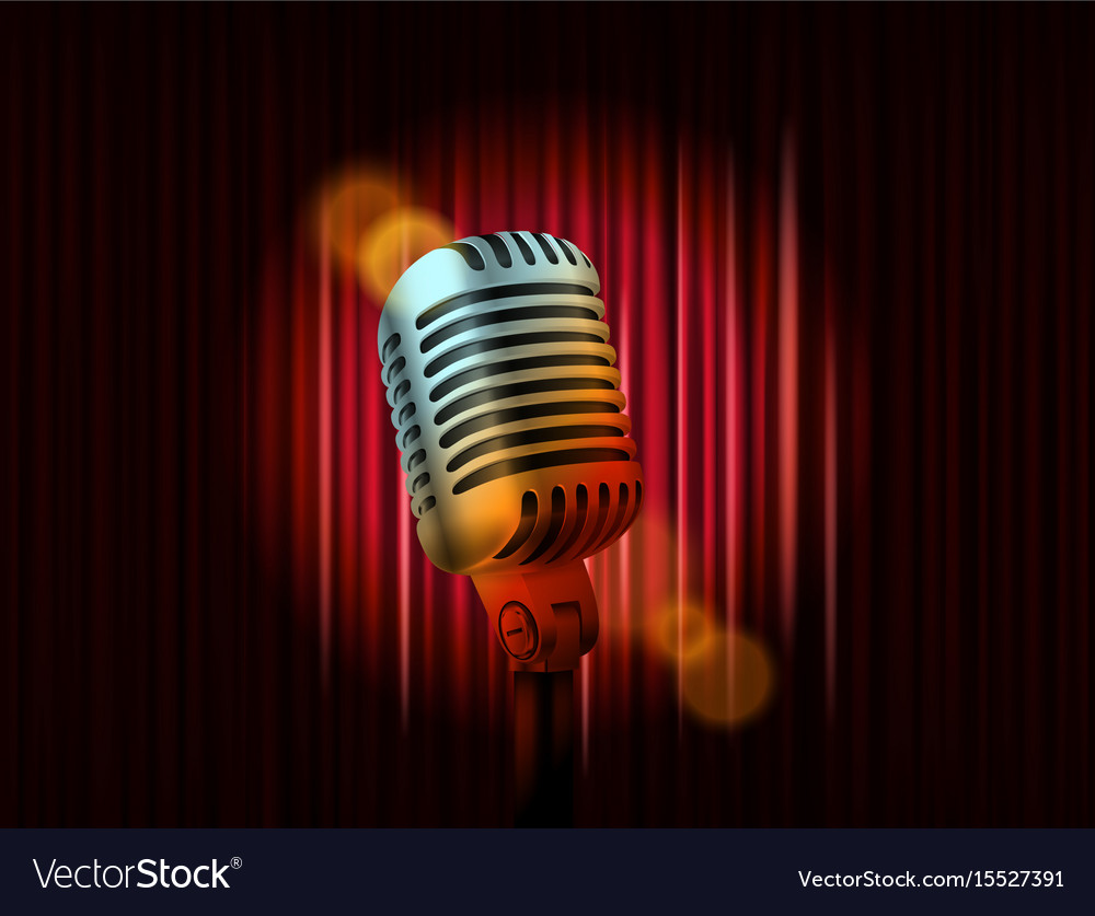 Opening stage curtains with golden microphone