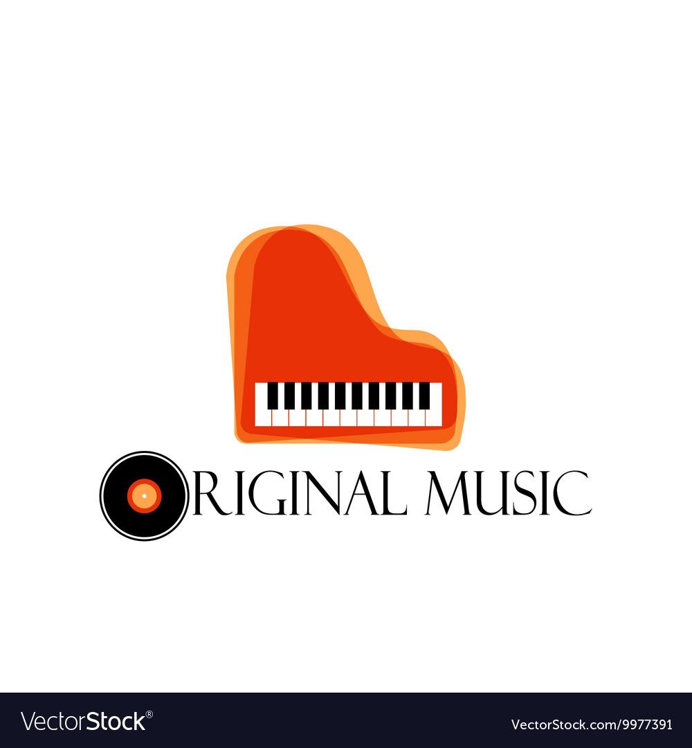 Orange music piano logo Jazz logo Color music