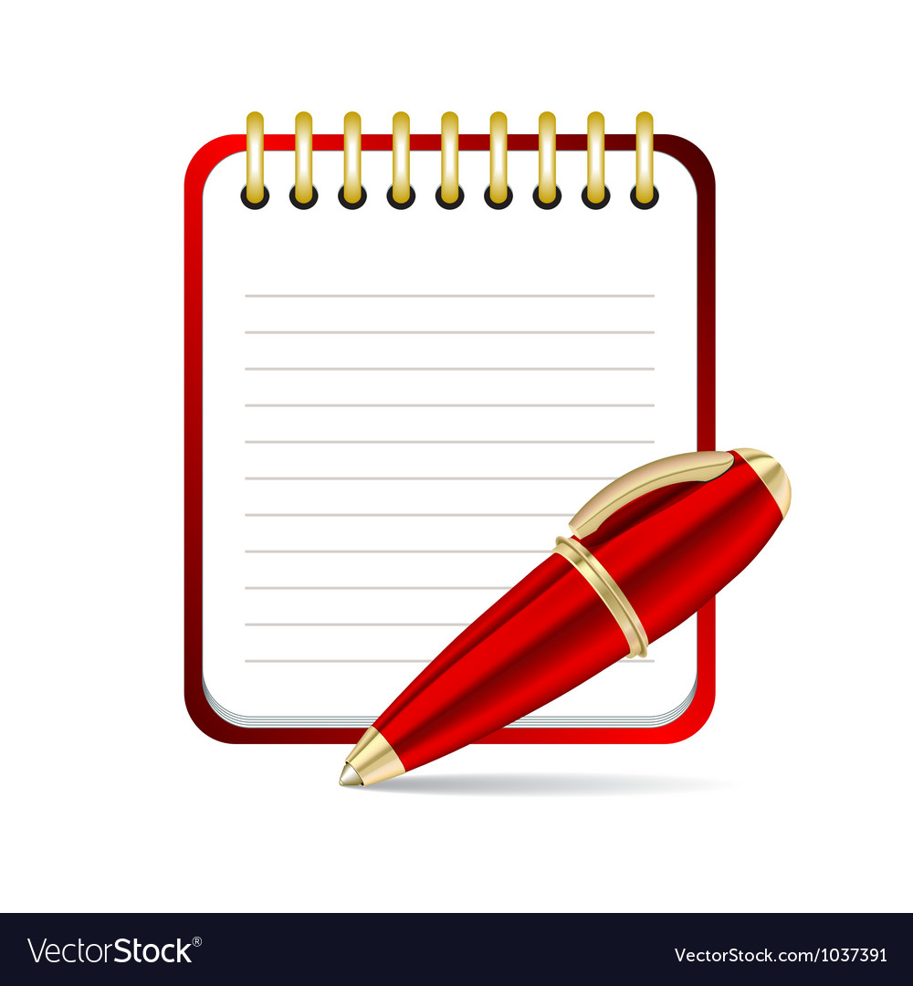 Red pen and notepad icon