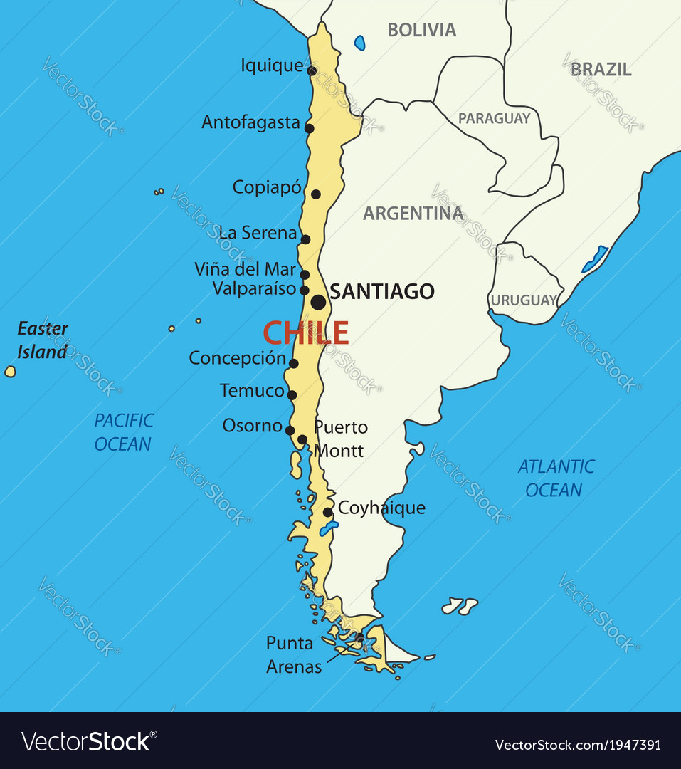 Chile On Map Republic of Chile   map Royalty Free Vector Image