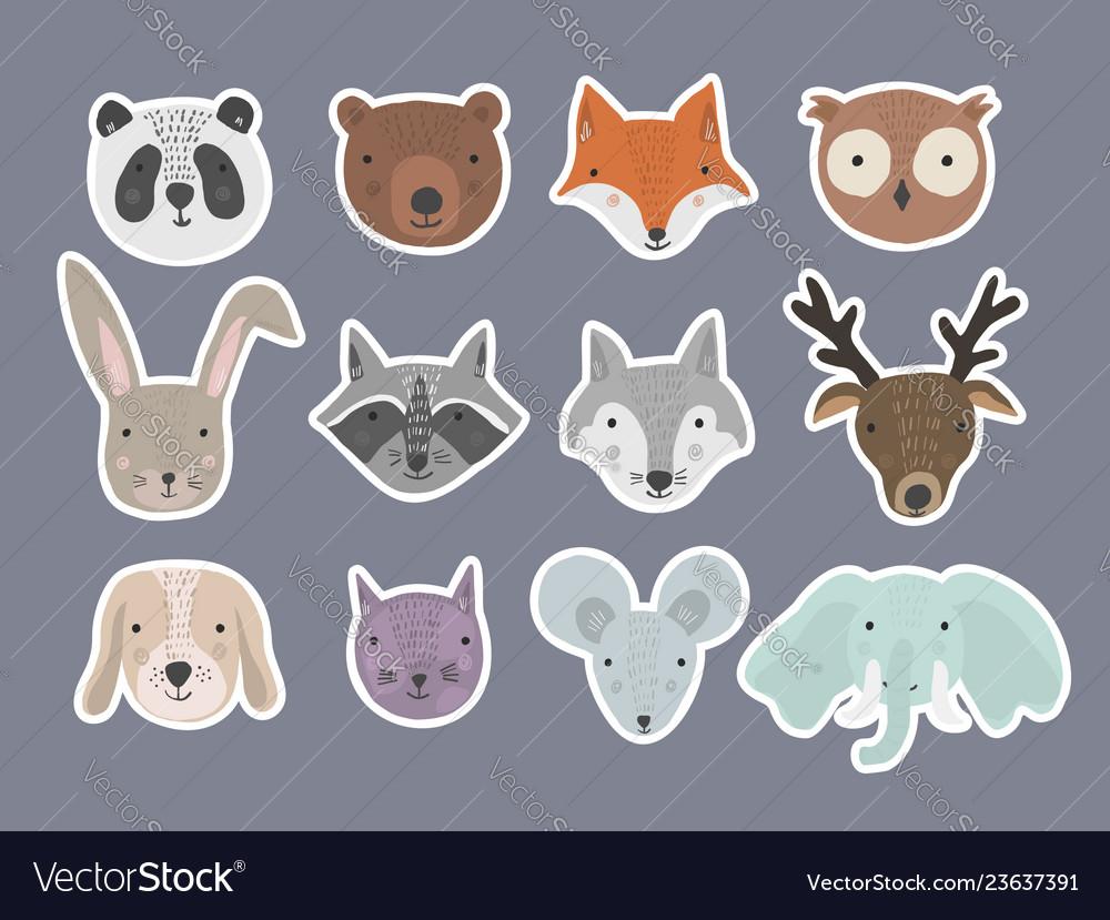 Set of cute cartoon hand drawn animals stickers