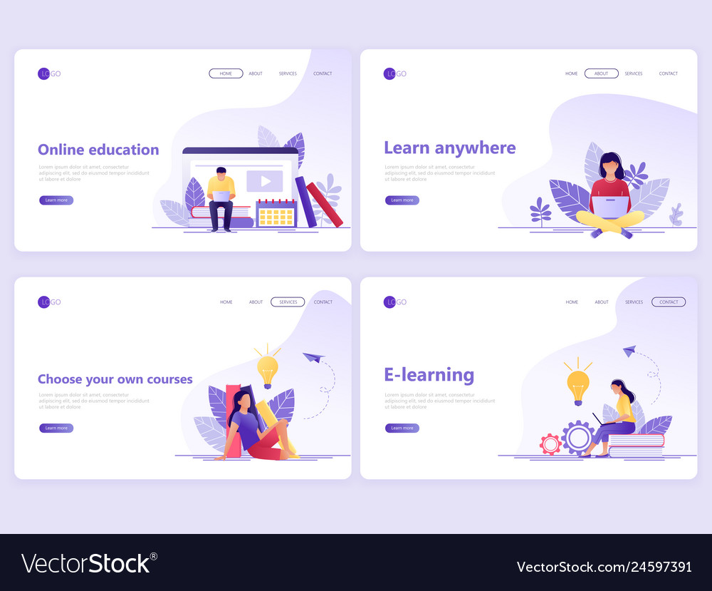 Set of landing page templates distance education