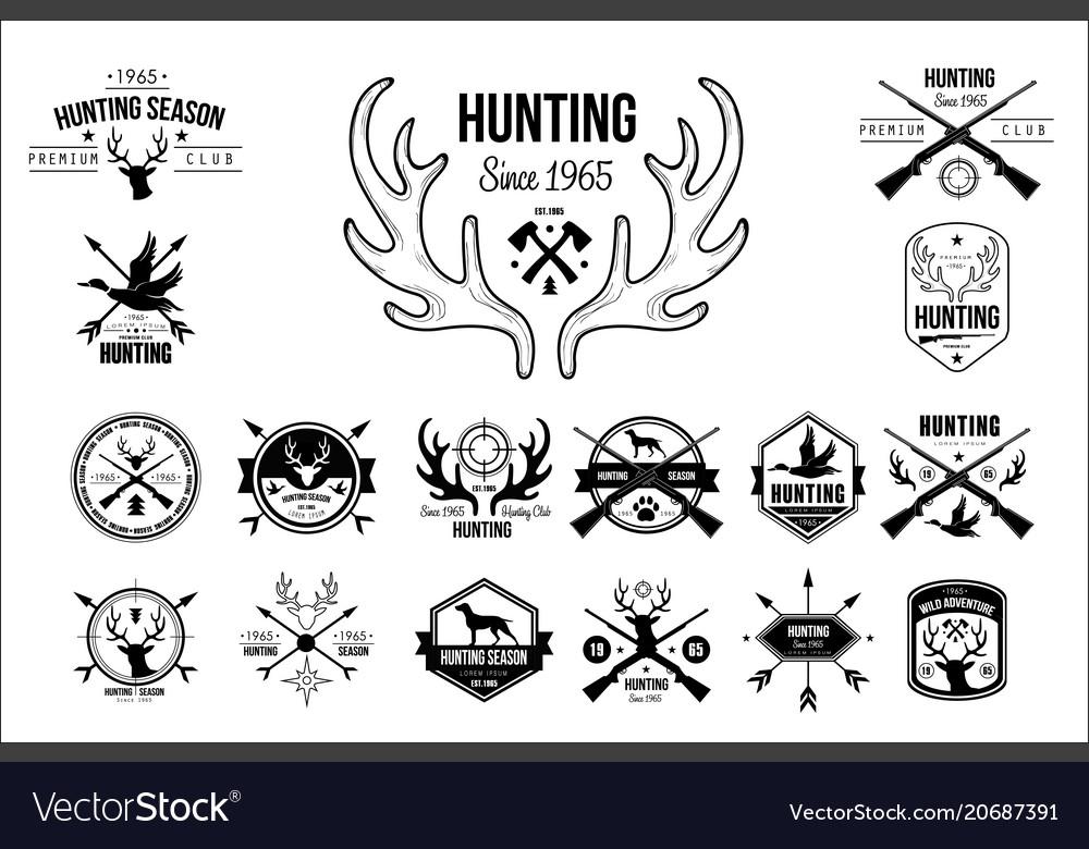 Set of vintage emblems for hunting club