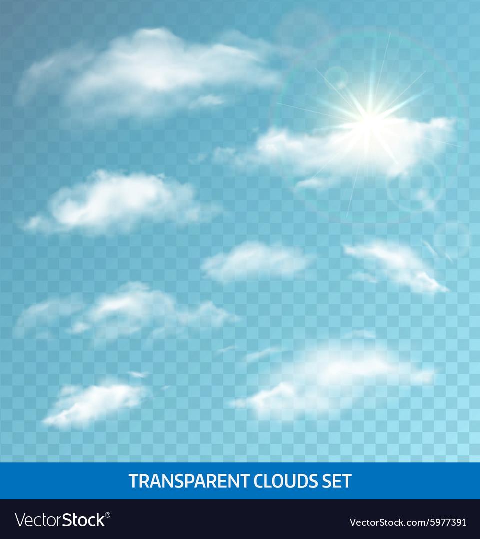 Set realistic transparent clouds