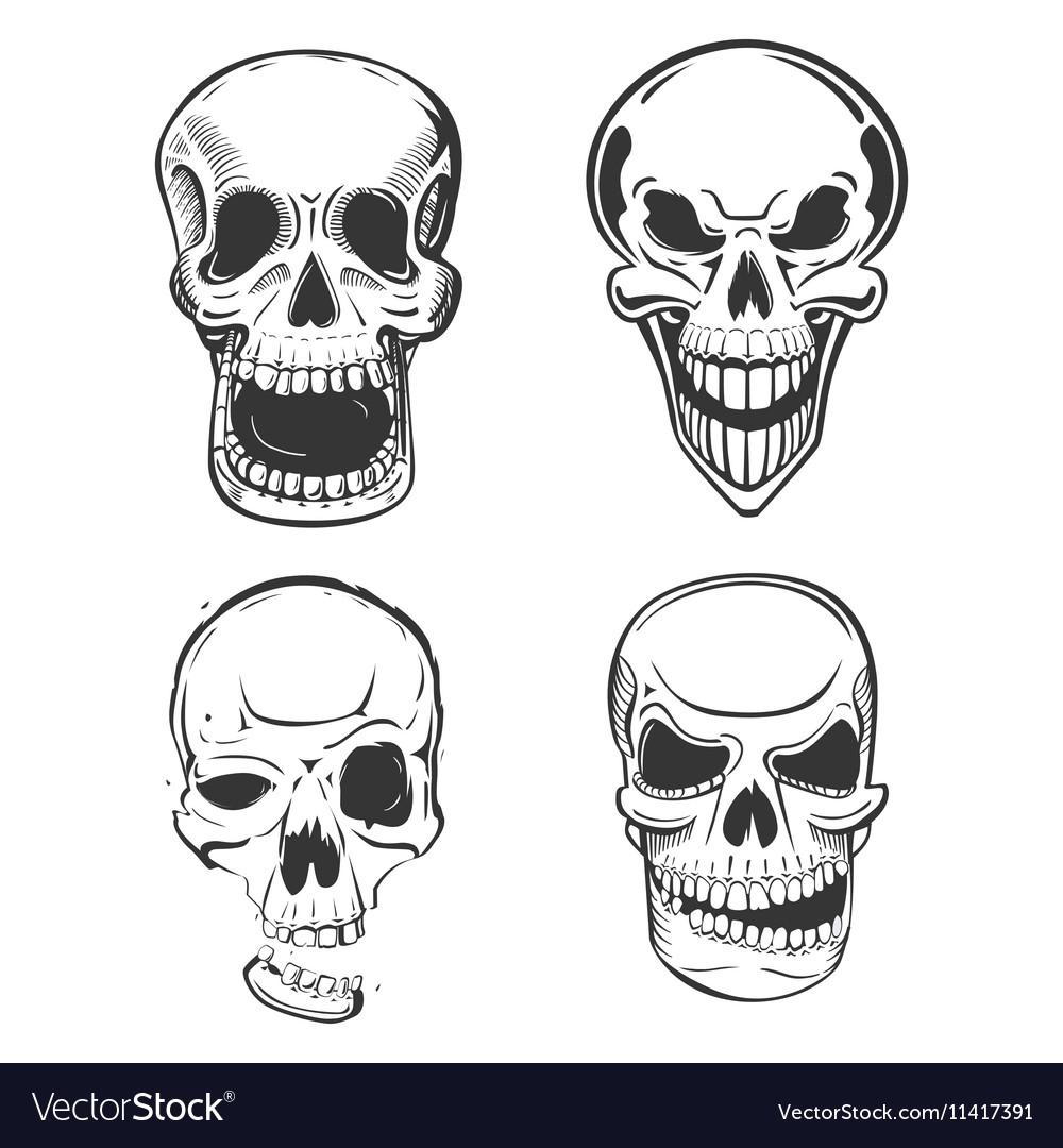 Skull tattoo art in sketch style