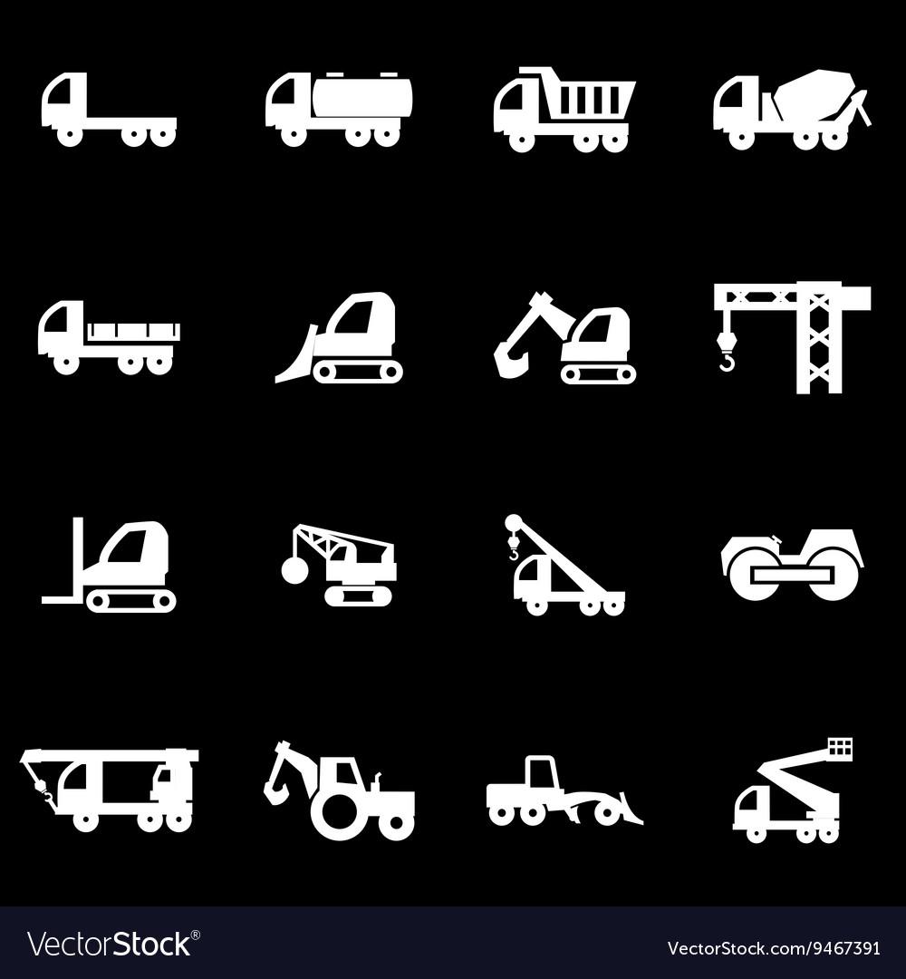 White construction transport icon set
