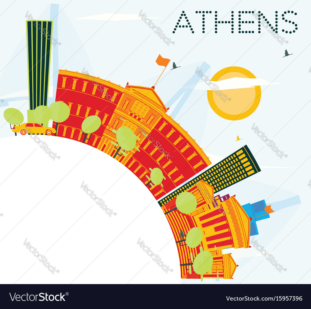Athens skyline with color buildings blue sky and