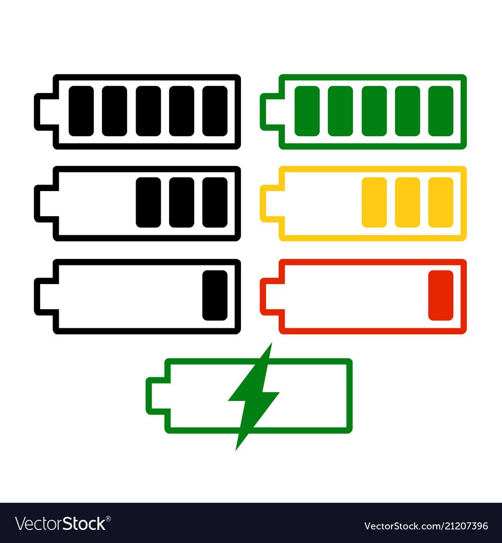 Battery charge level set isolated on