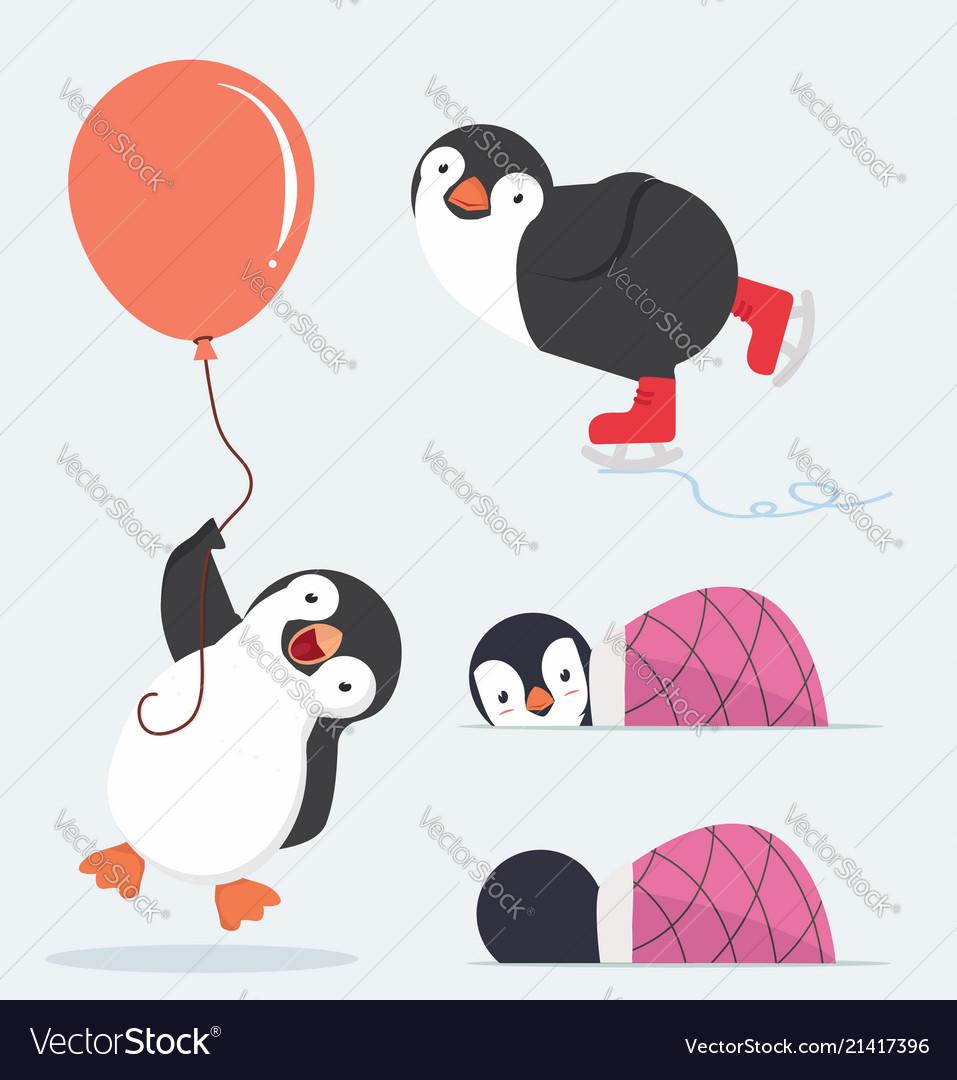 Cute penguin characters set