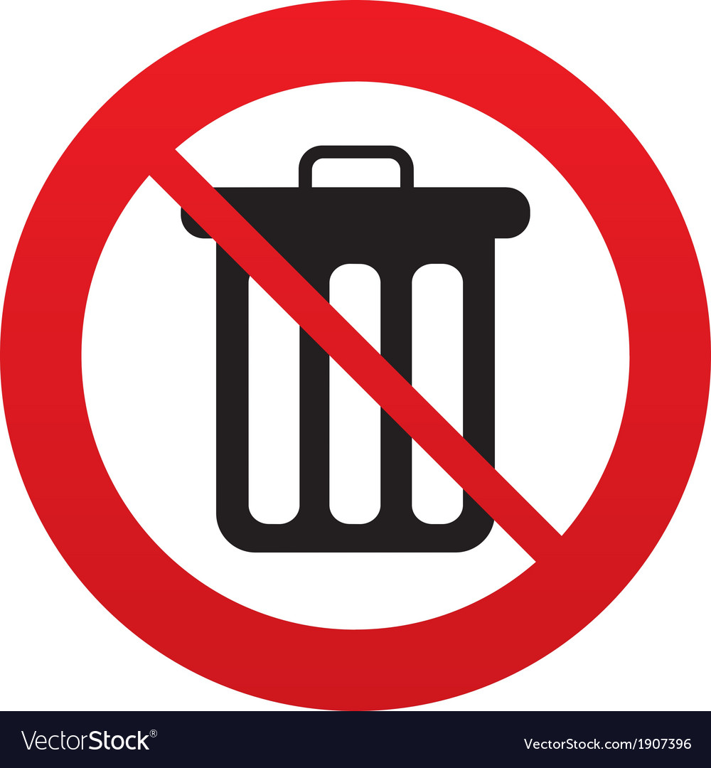Dont Throw Trash Recycle Bin Sign Icon Royalty Free Vector