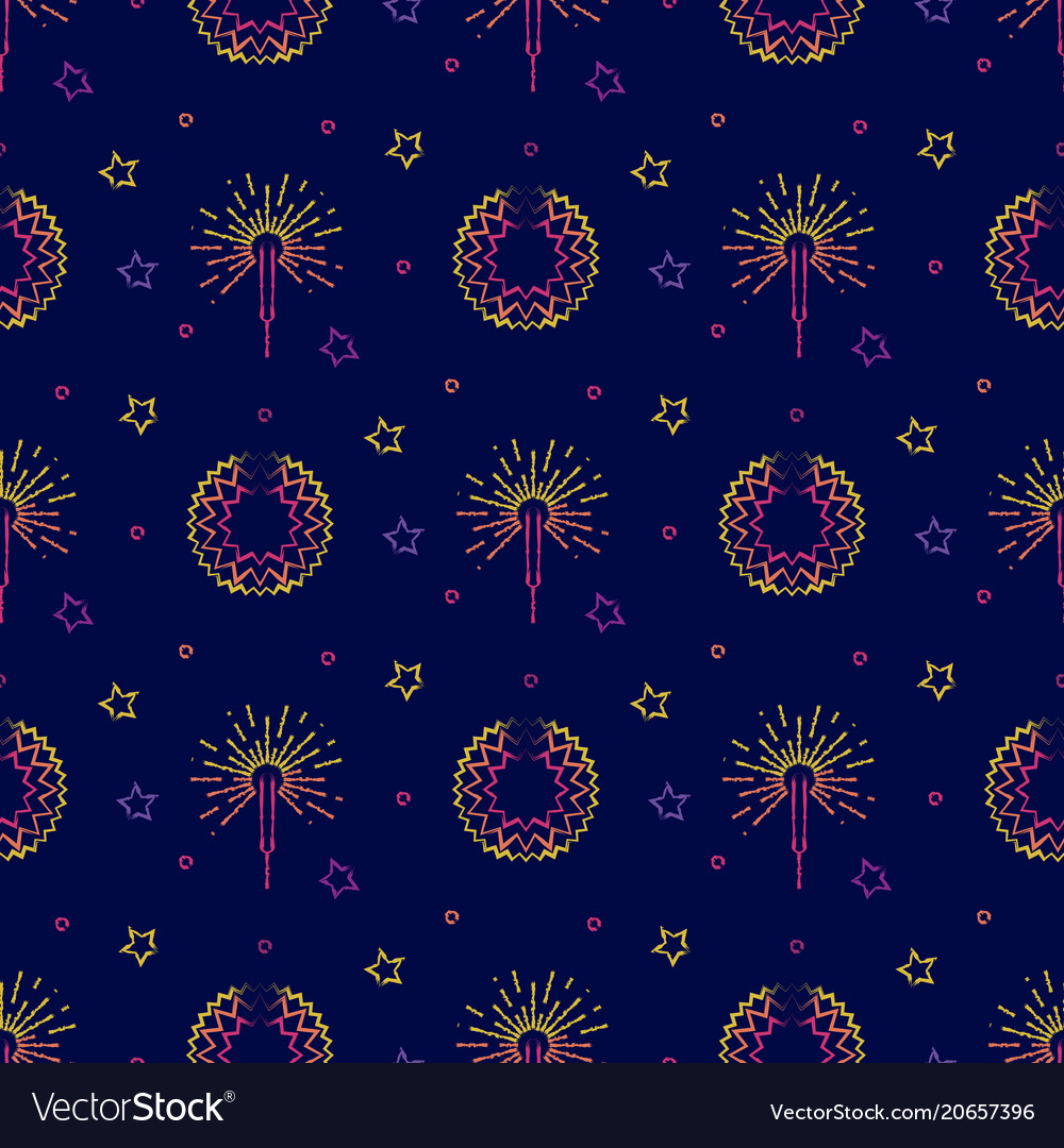 Fireworks festive pyrotechnic and stars seamless
