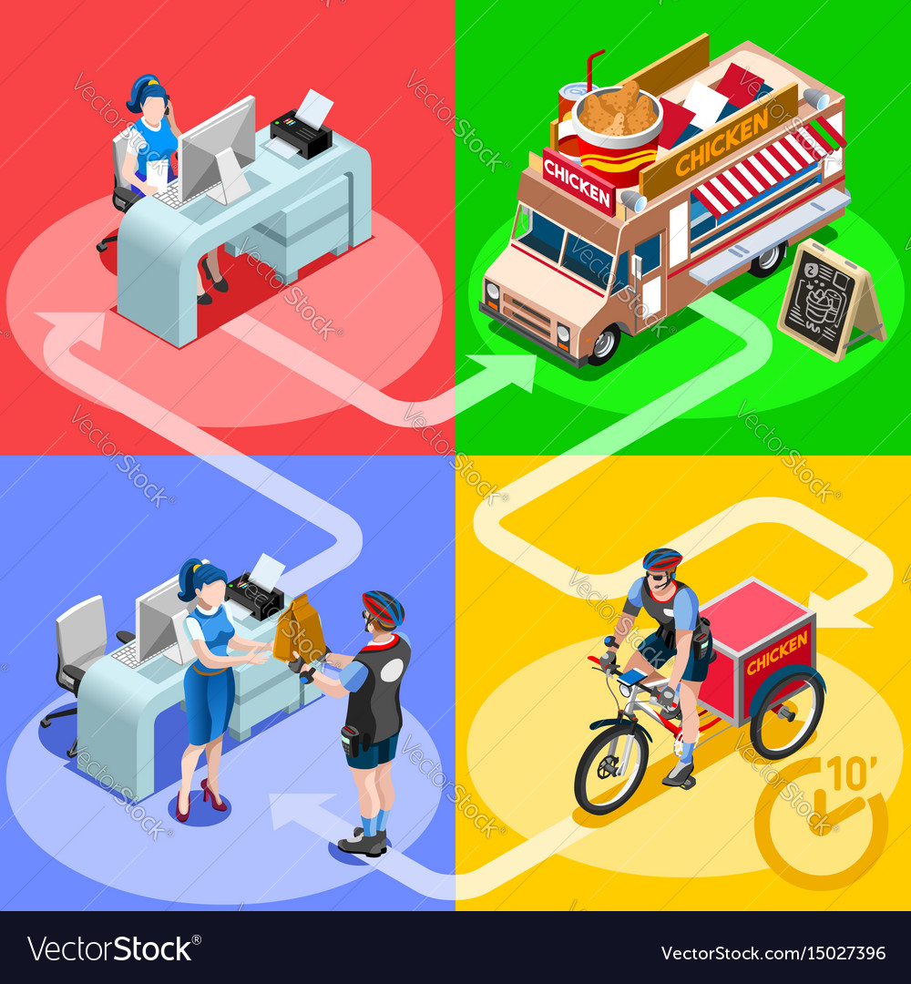 Food truck chicken wings home delivery isometric