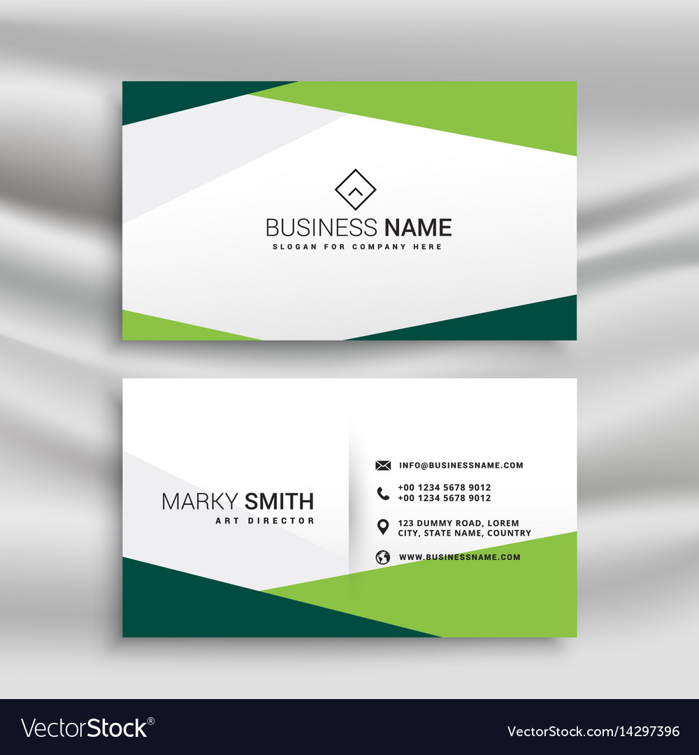 Green and white business card with abstract Vector Image