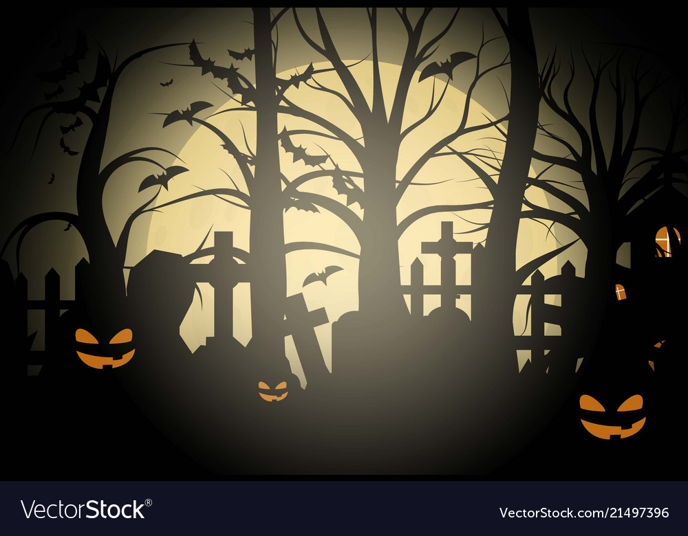 halloween background and scary church on vector image