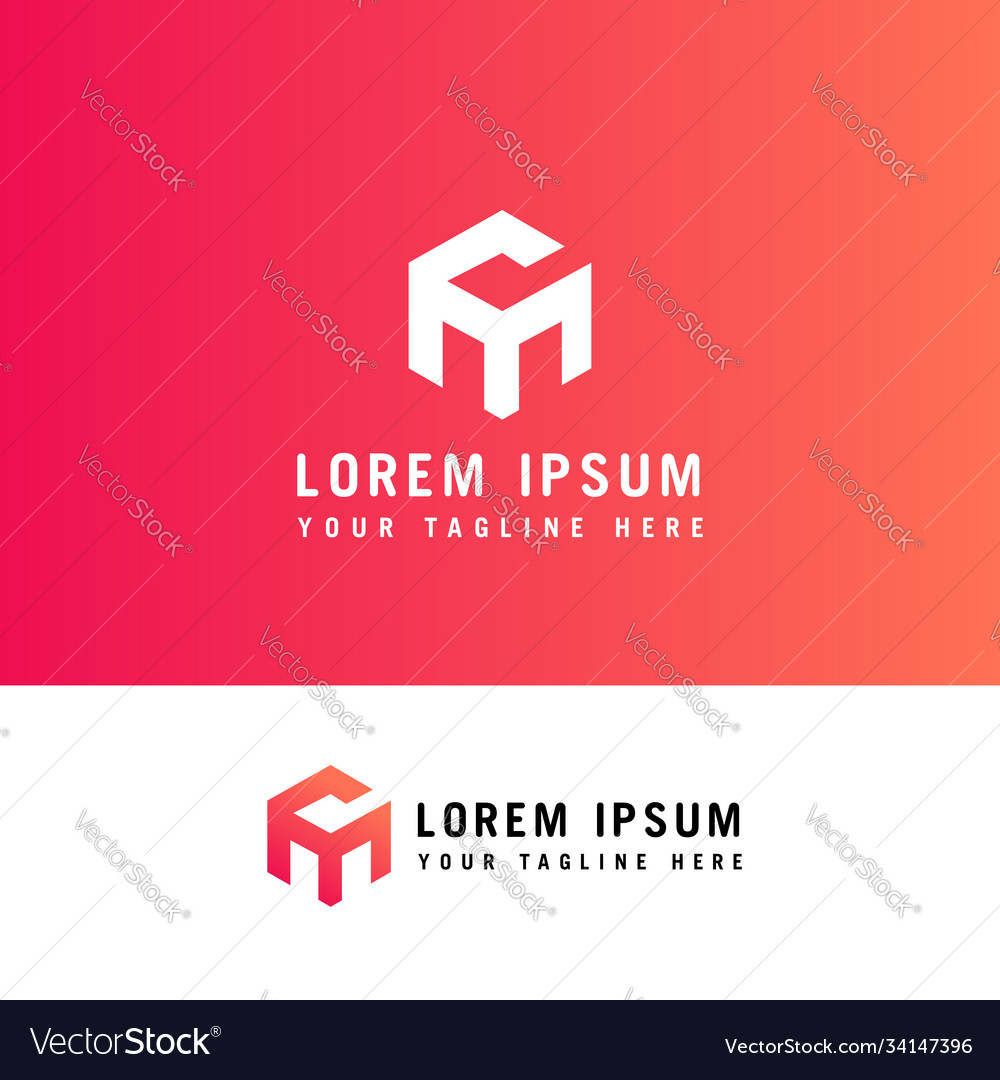 Letter cm logo with hexagon concept template
