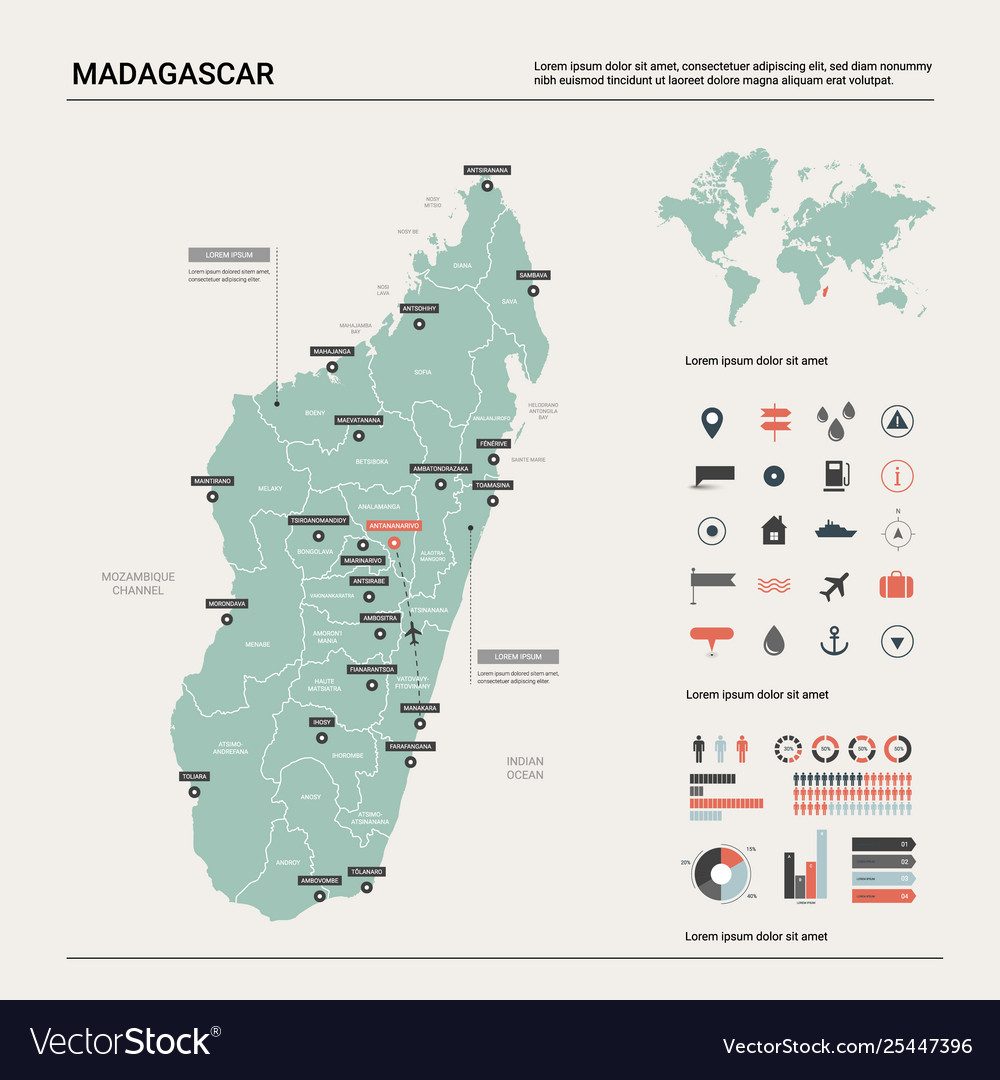 Map madagascar country map with division Vector Image