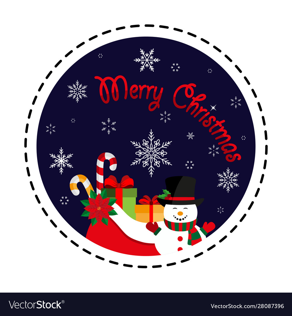 Merry christmas snowman with a bag gifts icon