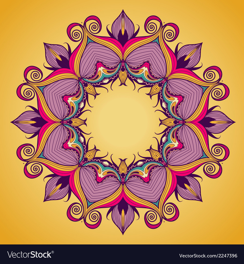 Ornamental round lace pattern is like mandala