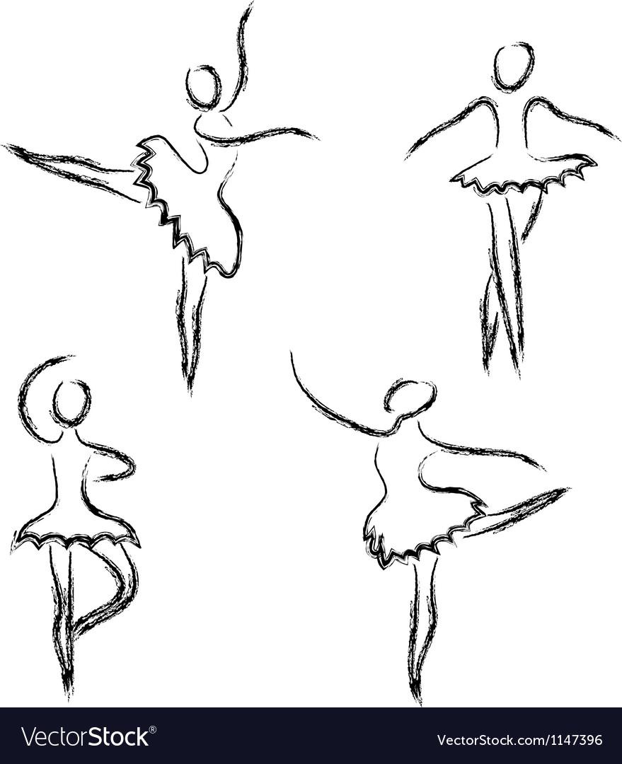 Set of abstract ballet dancers vector image