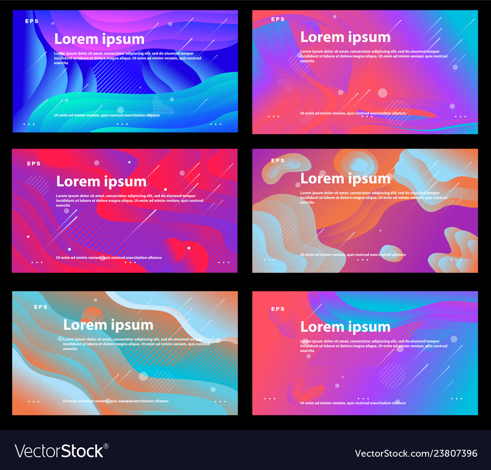 Set of bright colorful backgrounds with shapes