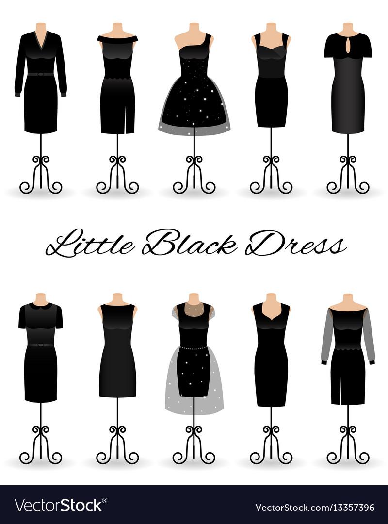 Set of little black dresses on mannequins