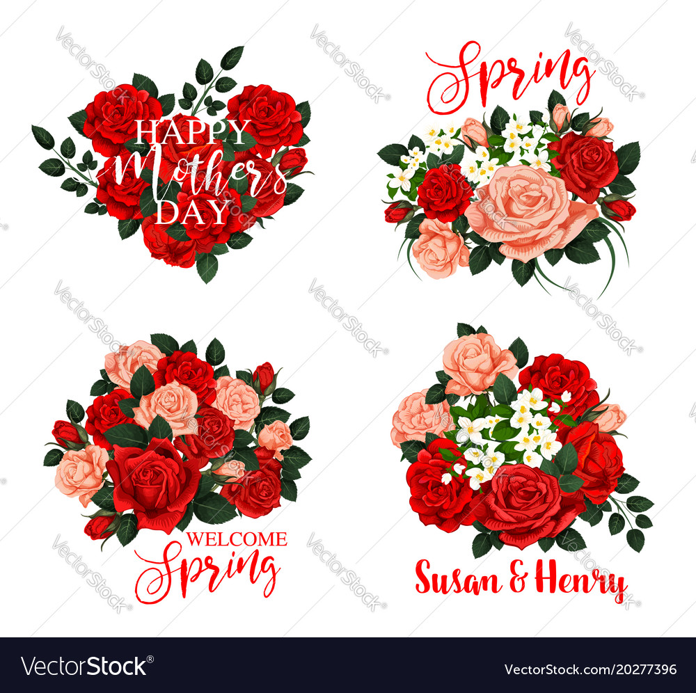 Spring Flower Icon For Mother Day And Wedding Card