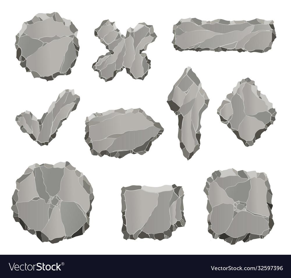 Stone game elements cartoon rock ui elements like