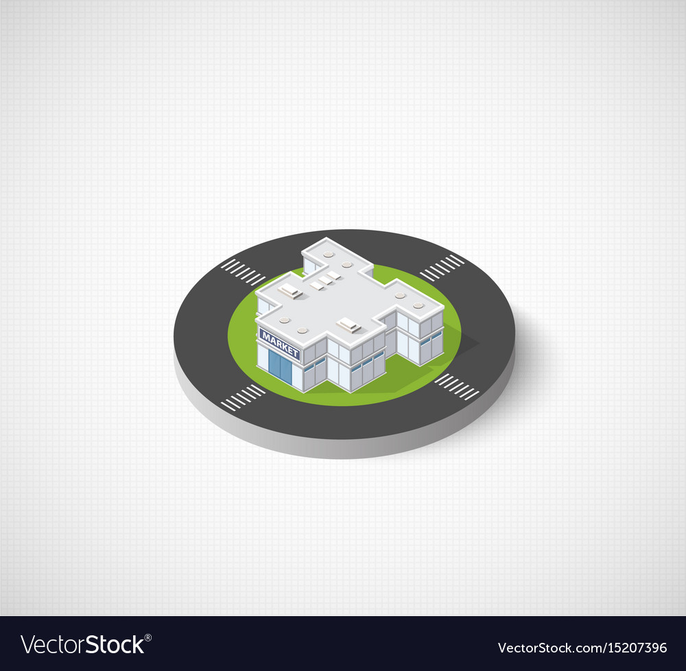 Supermarket shop 3d icon dimensional building of vector image