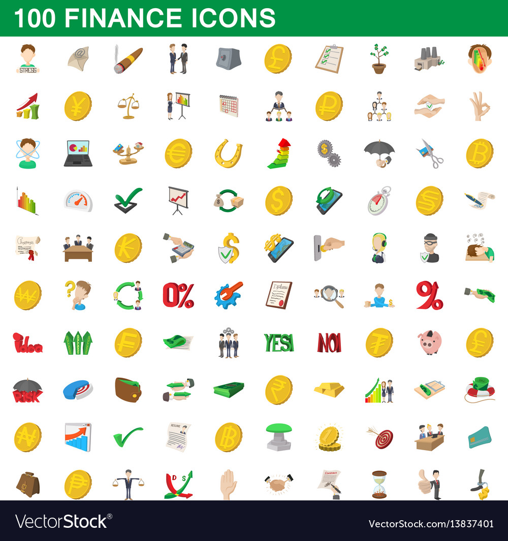 100 finance icons set cartoon style