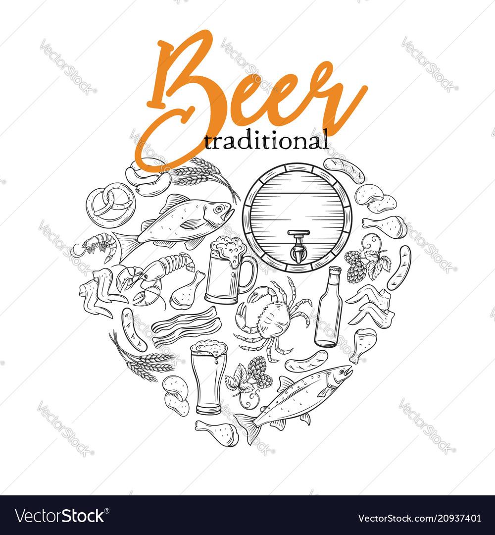 Banner beer shape heart vector image