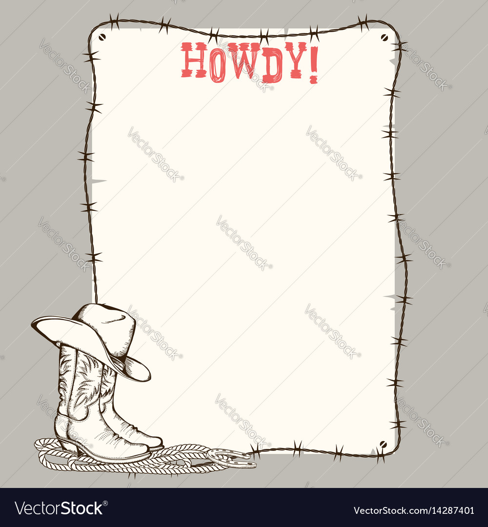 Cowboy paper background with western boots and vector image