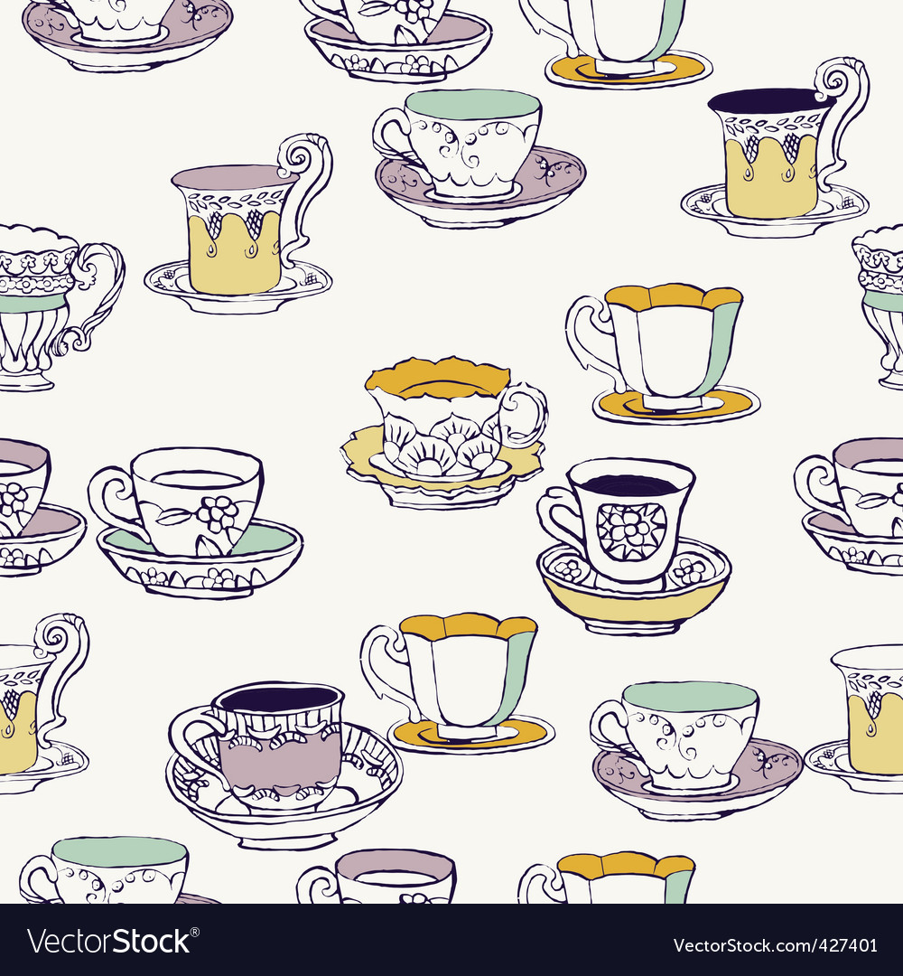 Cups and saucers background