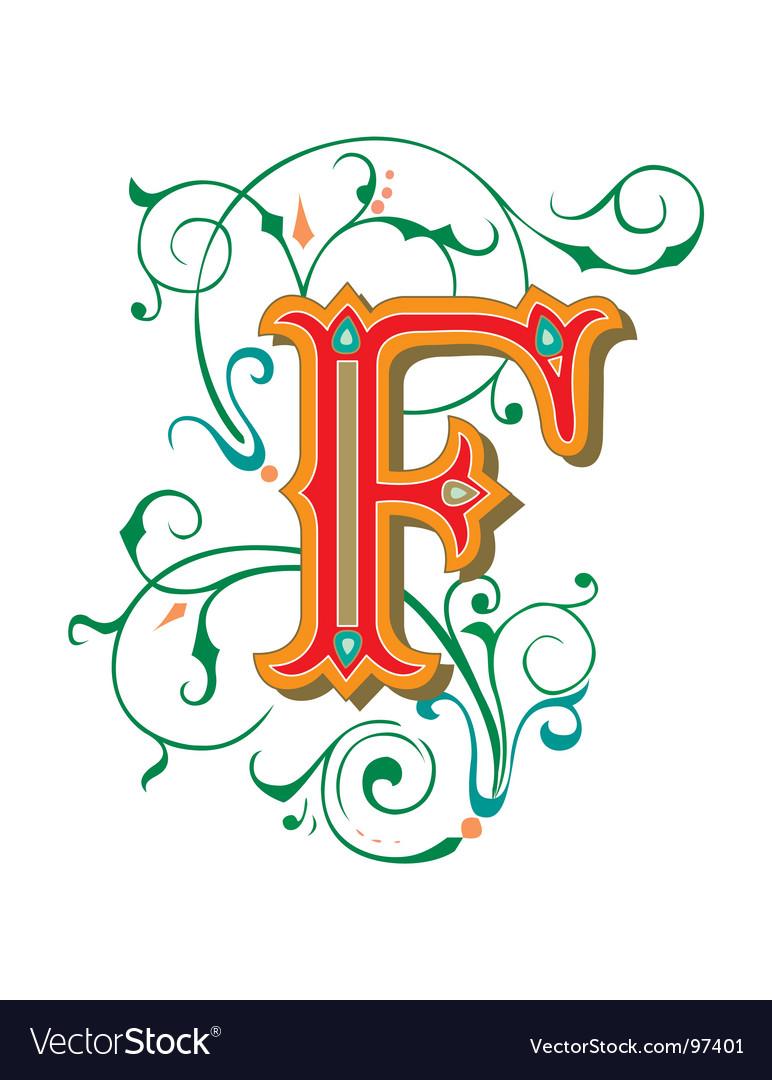 Floral Letter F Vector Image