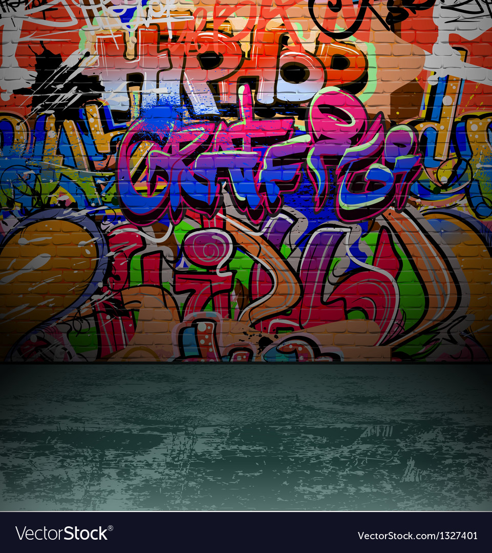 Super Graffiti wall urban street art painting Royalty Free Vector FC-58