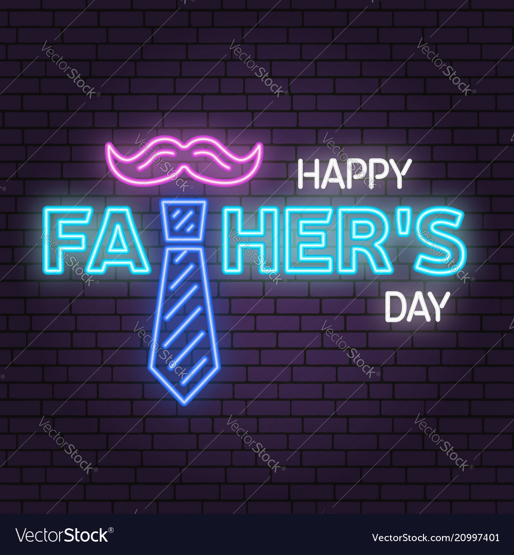 Happy fathers day sign on brick wall background
