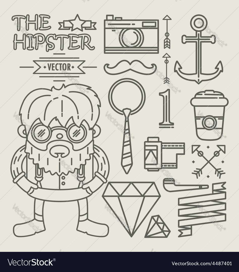 Hipster character design Linear