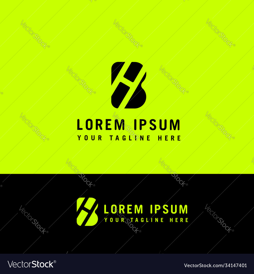 Initial h b minimalist modern logo identity
