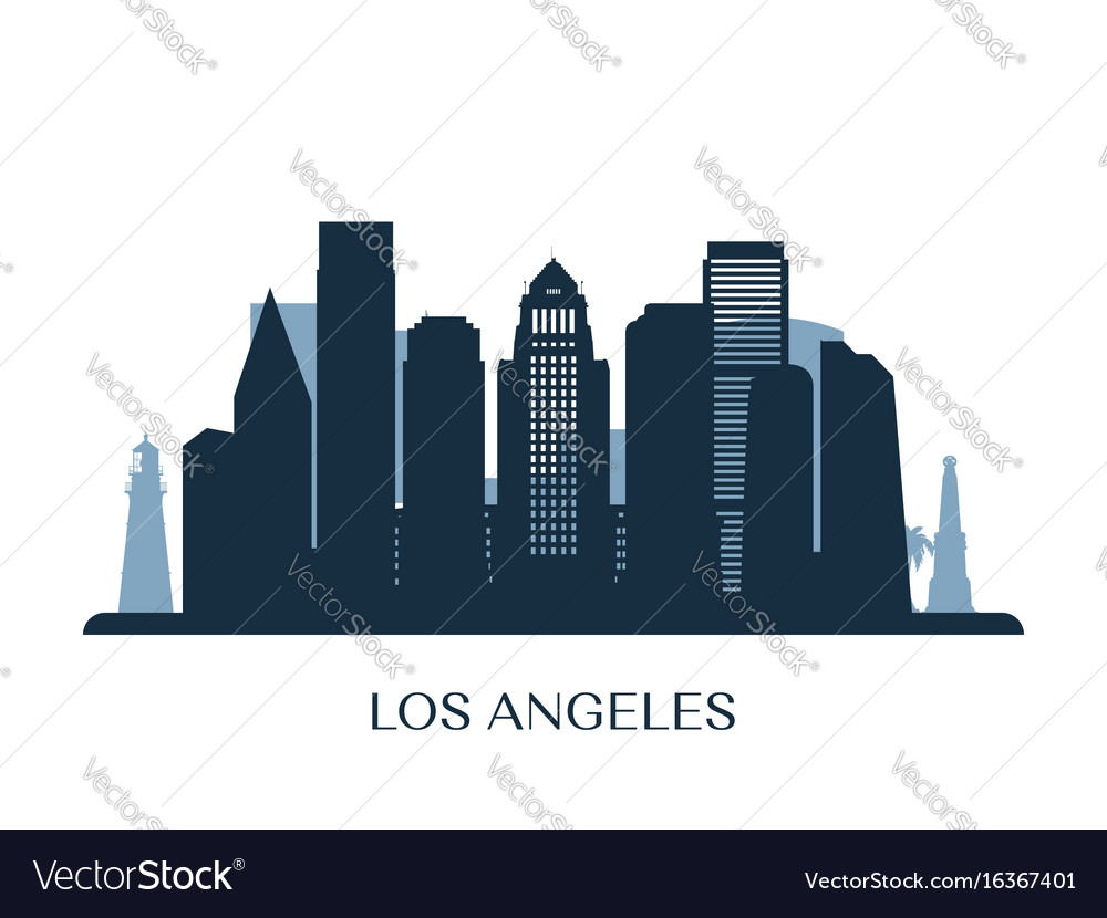 los angeles skyline monochrome silhouette vector image rh vectorstock com los angeles skyline outline vector los angeles skyline outline vector
