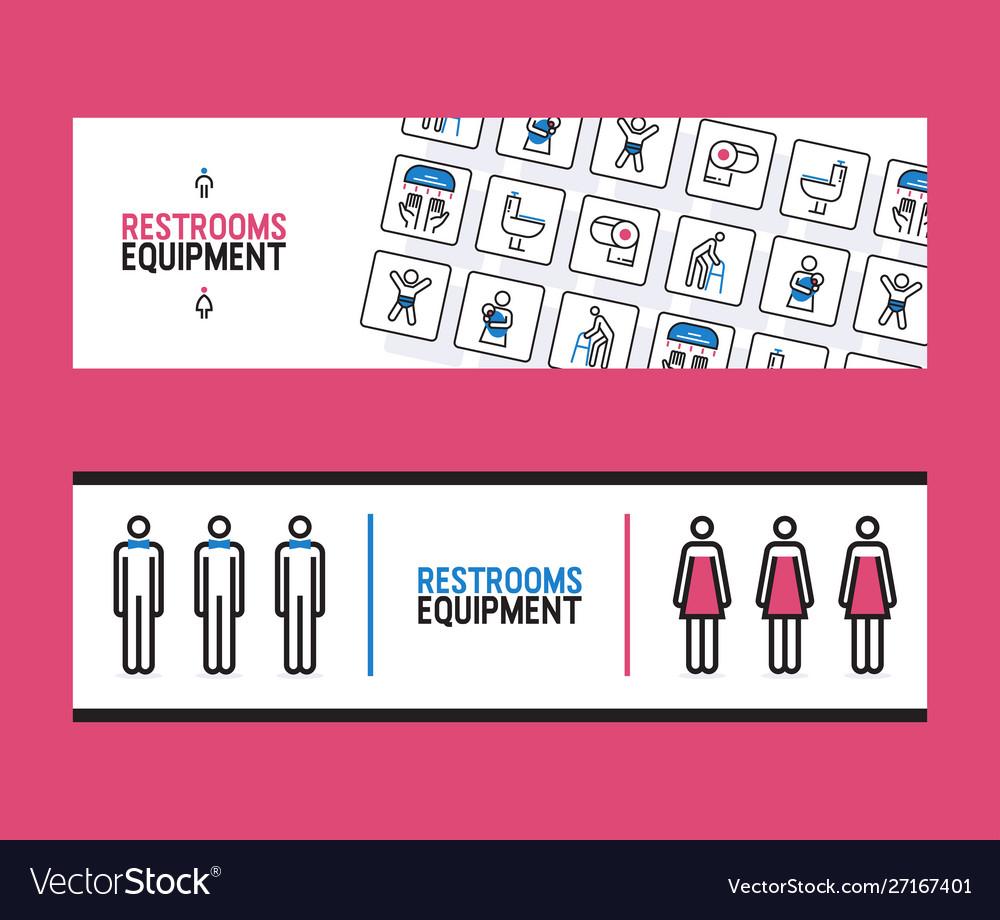 Restroom equipment supply banner