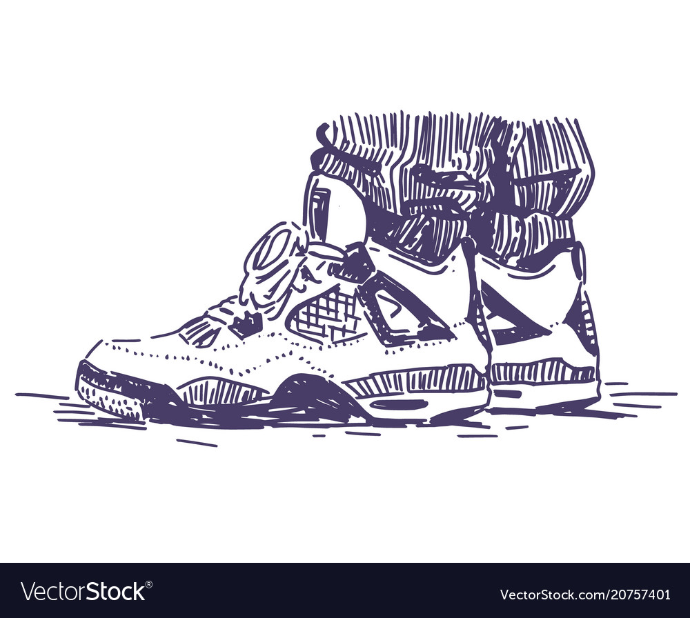 Retro sport sneakers hand drawn
