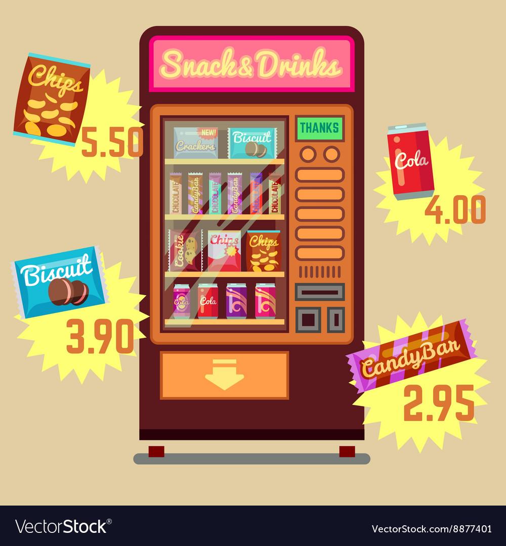 Retro vending machine with snacks and