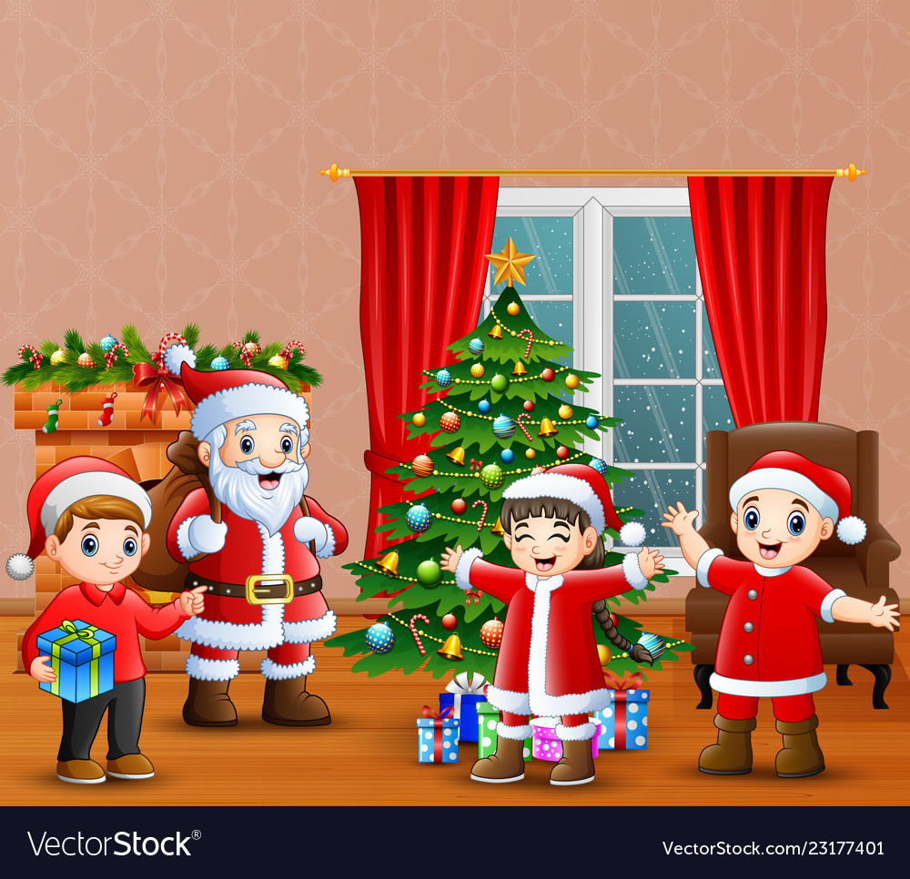 Kids Christmas.Santa Claus And Kids Celebration A Christmas In Th