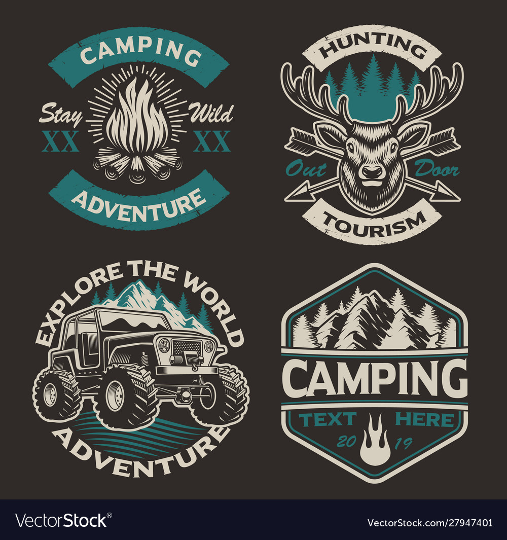 Set colored logos for camping theme