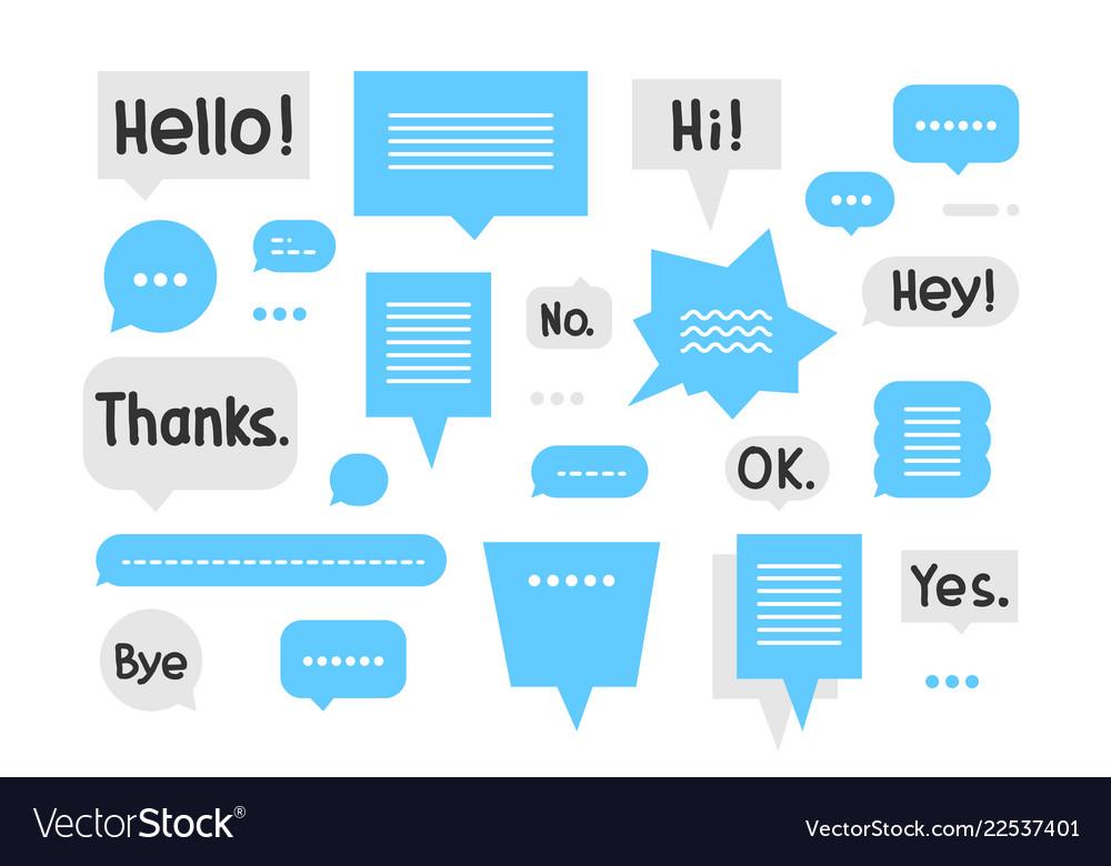 Speech bubble set with short phrases