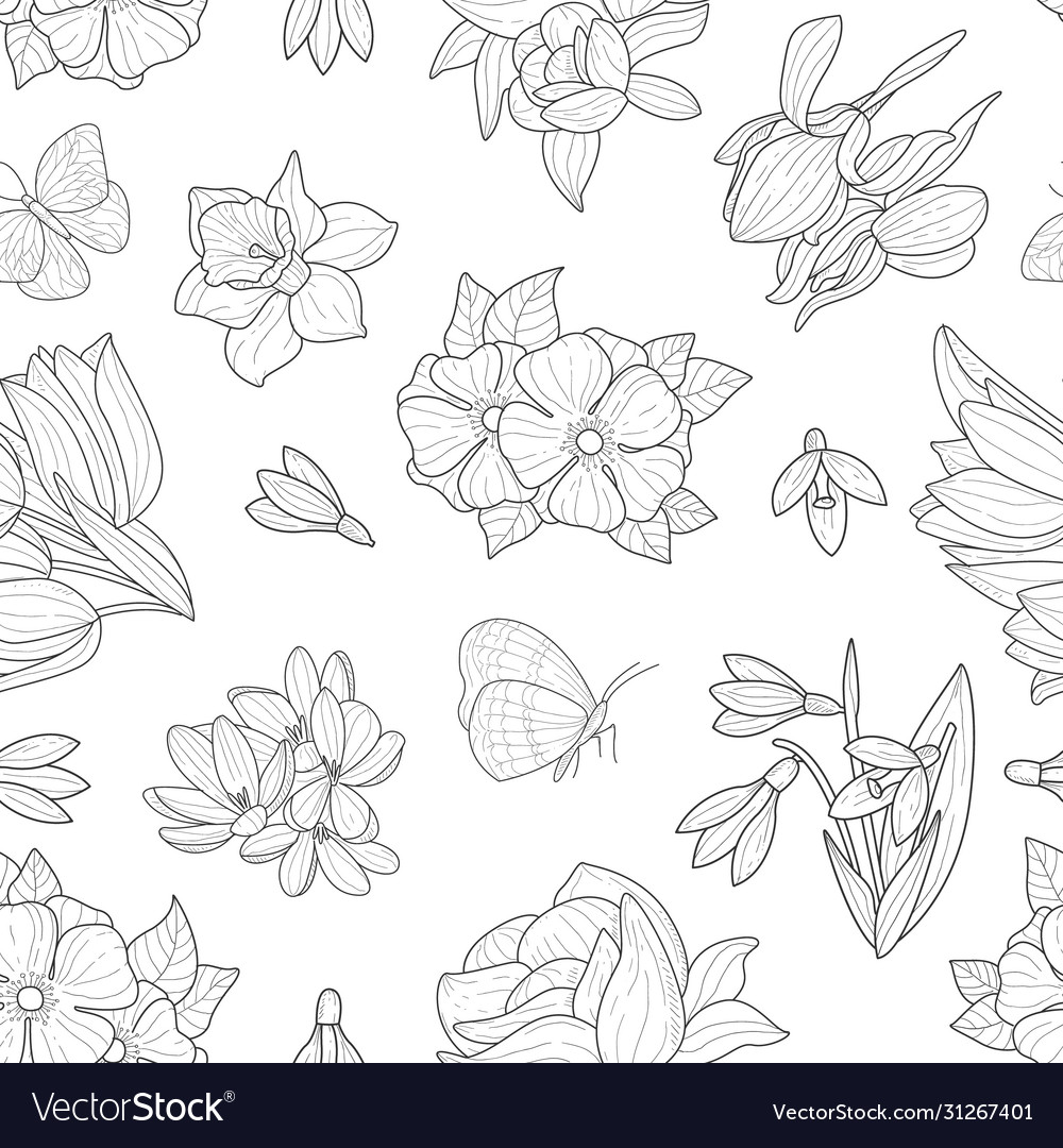 Spring flowers seamless pattern wild meadow