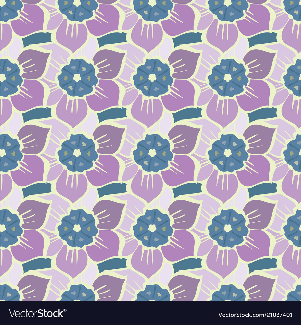 Summer seamless pattern with spring flowers